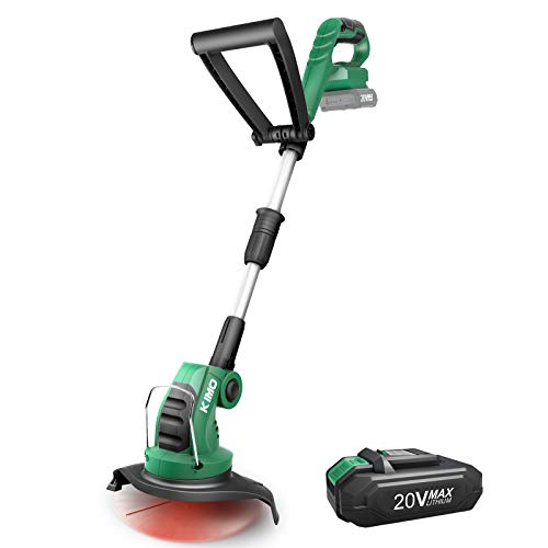 String Trimmer-KIMO Cordless String Trimmer/Edger, 10-In Weed Wacker, w/20V 2.0Ah Lithium-ion Battery Powered, Charger, Multi-Angle Adjustment,Lightweight Lawn Trimmer for Walk Behind Edging/Trimming