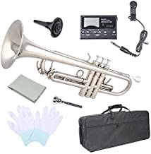 Trumpet Bb Flat, Les Ailes de la Voix Nickel Plated Brass Trumpet Includes Hard Case 7C Mouthpiece for Student Beginner