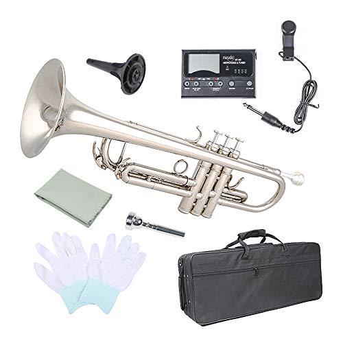 Trumpet Bb Flat, Les Ailes de la Voix Nickel Plated Brass Trumpet Includes Hard Case 7C Mouthpiece for Student Beginner