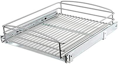 Knape & Vogt 5 in. H x 18 in. W 20 in. D Multi-Use Pull-Out Basket Cabinet Organizer - Frosted Nickel, Silver
