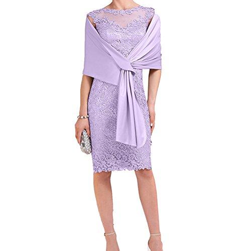 Charmant Damen Flieder Spitze Brautmutterkleider Abendkleider Etuikleider Promkleider mit Satin Stola-44 Flieder