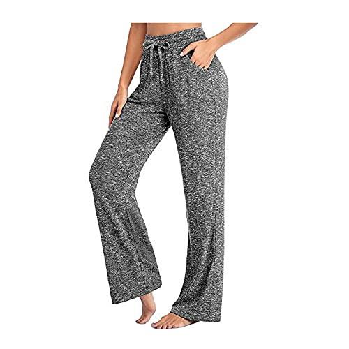 MLLM para Danza, Yoga Yoga Pantalones,Pantalones de Yoga Casuales Sueltos, Pantalones Largos Trenzados-Gris_L,Leggings de Yoga Ultra Suaves y cómodos
