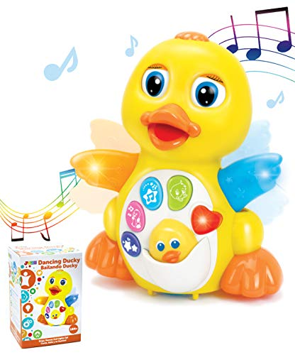 JOYIN Baby Musical Toy Dancing Walking Yellow Duck Baby Toy with Music and LED Lights, Infant Light Up Toys, Activity Center for Toddlers, Baby Learning Development Toy