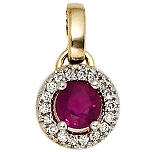 JOBO Anhänger 585 Gold Gelbgold teilrhodiniert 18 Diamant-Brillanten 1 Rubin