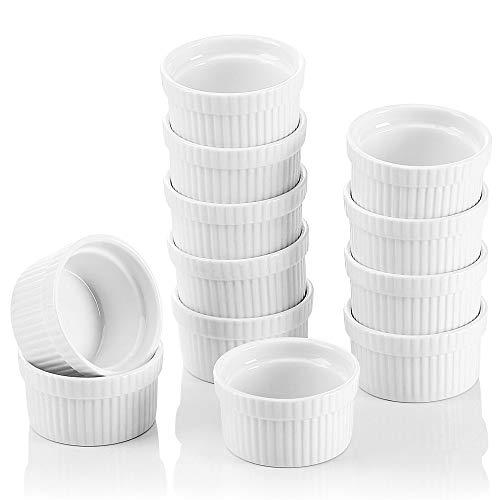 MALACASA, Serie Ramekin.Dish, 12-teilig Set, Mini Souffléförmchen Auflaufformen Muffinförmchen - 7 cm Porzellan Muffin Cupcake Back