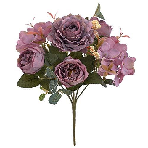 Novia De Seda Artificial del Peony De Seda Vintage Flores Ramos De Novia Peony Paquete De Sala De Estar Casera Decoración De La Boda Disposición Púrpura