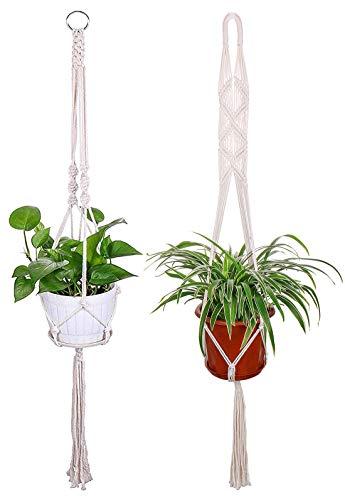 Luxbon 2er Set Makramee Blumenampel Baumwollseil Pflanzenaufhänger Blumentopf Halter für Decken Balkone Wand Boehmische Deko 104cm / 41 Zoll