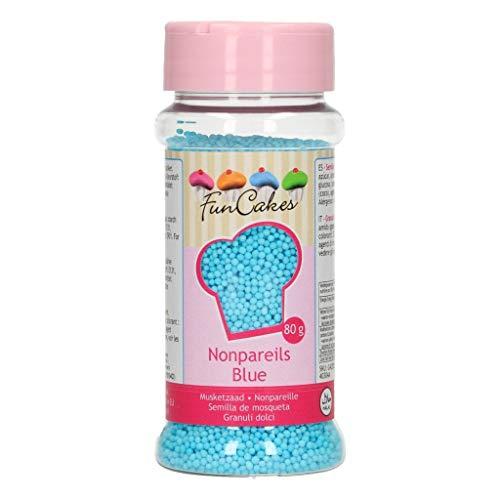 FunCakes G42525 Sprinkles Decoraciones NonPareils de Color Azul para Decorar Tartas, Cupcakes, Galletas, He Nonpareils-Blue-80g, siehe Beschreibung
