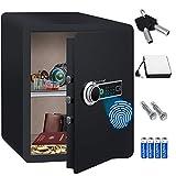 KESSER® Elektr. Tresor mit Fingerabdruck | 40x50x40cm | Inkl. Batteriebox | Elektronischer Safe 3x...