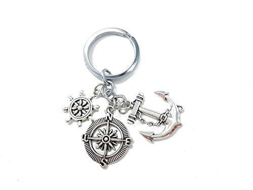 Familienkalender Anker mit Kompass und Steuerrad Schiffsruder Schlüsselanhänger Metall | Meer | Geschenk | Wasser | Schiff