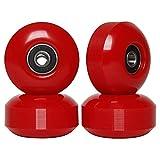 FREEDARE Skateboard Wheels with Bearings 52mm Street Wheels Skateboard Tricks (Red,Set of 4)