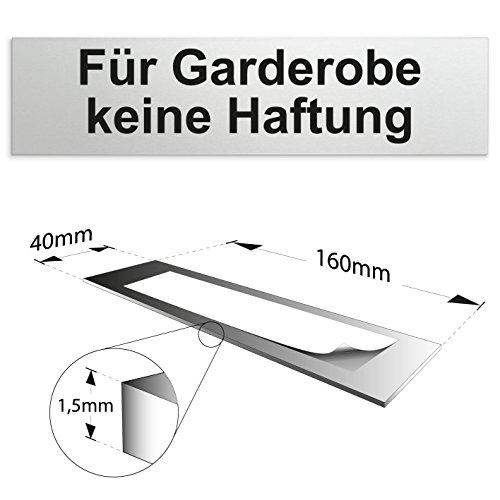 Kinekt3d Leitsysteme Schild/Türschild 160 x 40 x 1,5 mm - Aluminium Vollmaterial eloxiert - Oberfläche in geschliffener Edelstahloptik - 100% Made in Germany (Für Garderobe keine Haftung)