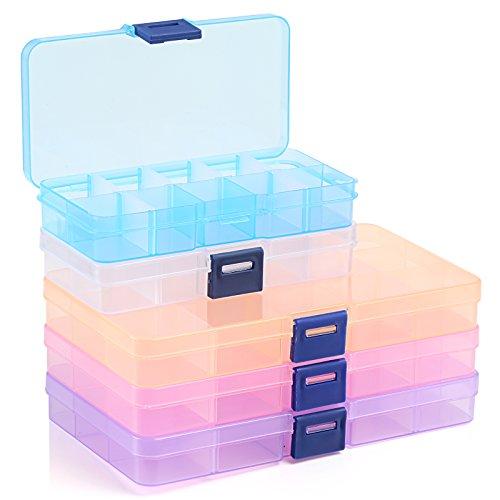 Naler 5 x SortierboxMehrfarbig Plastikschachtel Plastik Box für Aufbewahrung 10/15 Variable Fäche