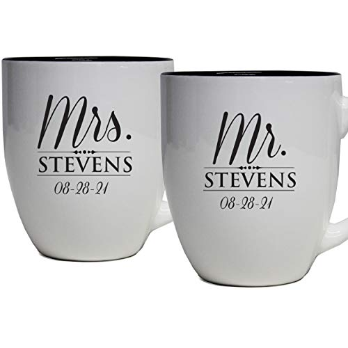 Set of 2 Personalized Mr. and Mrs. Coffee Latte 16oz Mugs for Couple - Custom Engraved Mug Gift for Bride, Groom His, Hers, Husband, Wife (White)