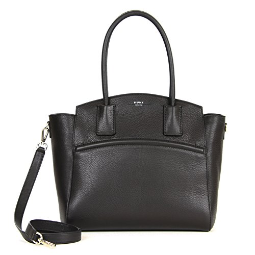 Muny Handbag N1 Black Leather Satchel Medium
