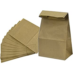 Grocery Bag Kraft Paper Bag Party Lunch Flat Bottom Paper Bag, 20 Count (L, Brown)
