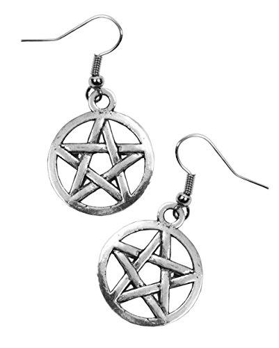 Pendientes de Pentagrama. Acabado plata envejecida. Orejeras de acero. Pentáculo, pentángulo, polígono, estrella. Wicca.