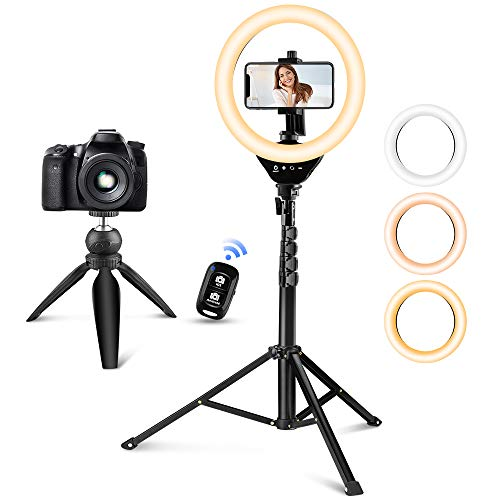 Selfie Ring Light with 2 Adjustable Tripod Stand/Phone Holder/Camera Remote Shutter Best 10 Brightness Levels Dimmable LED Ring Light for Makeup,YouTube, Photography