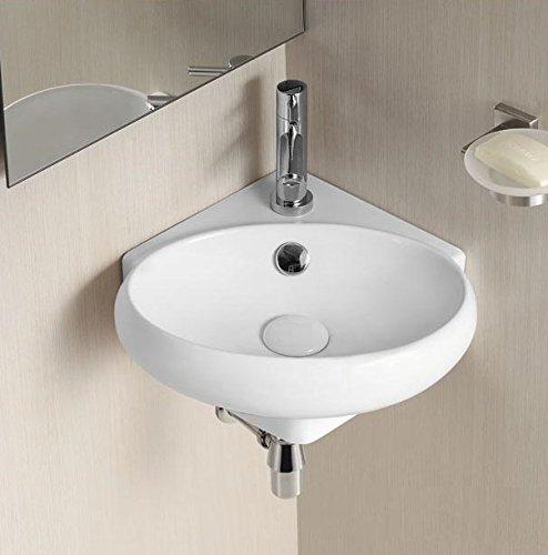 Design Eckschale Eckwaschbecken Waschbecken Handwaschbecken Waschschale Rund, 360x380x130mm in weiß, mit Lotus Effekt (3052) Art-of-Baan®