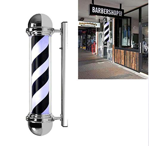 JI TA Led Barber Pole Enseigne Imperméable Lumineuse Pour Barbier Shop,vintage Poteau De Coiffeur Salon Led Poteau De Barbier Signe Noir Blanc Bandes Mur Lampe 65cm/26in A/A