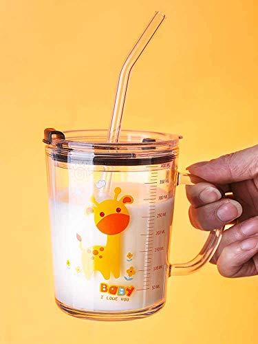 SRJMH® Glass Tumbler with Lid and Silicon Straw Coffee Mug Tea Cup Travel Mug Smoothies Fruit Juice Bottle for Home and Office Milk Thick Shake Mug for Kids Juice Mug -Multi Design 400-ML (1)