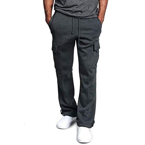 BenCreative Männer lässige Multi-Pocket gerade Overalls Cargohosen Arbeitshose Dark Grey 2XL