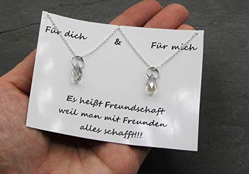2x Freundschaftshalskette Kristall Tropfen Anhänger Kette Freundschaft Halskette Ideales Geschenk Handmade Schmuck