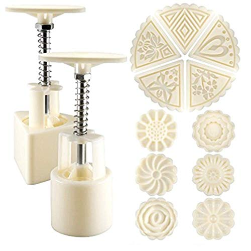 2 Sets of Moon Cake Molding Machine 50g Cookie Stamp Moon Cake Stamp, 11 Stamps Flower and Triangle Decoration Tools for Baking DIY Biscuits - White