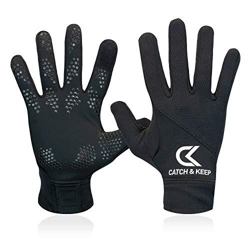 CATCH & KEEP Handschuhe – Trainingshandschuhe für Jede Sportart – wärmende Laufhandschuhe mit Smart-Touch-Funktion – Sporthandschuhe für Herren, Damen und Kinder (Schwarz, 8)
