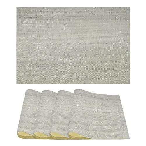 ASDWA Manteles Individuales de cerámica con Textura de mármol travertino, Juego de 4 manteles Individuales Resistentes al Calor, tapetes para Mesa de Comedor fáciles de Limpiar