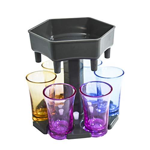 Aiboria 6 Stück Spender und Halter, Shots Dispenser Sechs Möglichkeiten, Bar Schussspender, Cocktailspender, Dispenser mit Slogan, Trinkspiele Weinspender(grau + farbige Tassen)