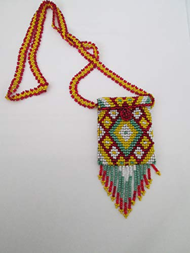 red yellow green white medicine Hand beaded Guatemalan central american Native design medicine bag stash pouch necklace fair trade southwest glass beads Aztec Indian design Ethnic beads bead