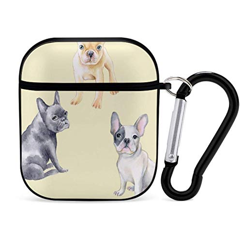 French Bulldog Watercolor Pattern Compatible AirPods Case 1st/2nd Cover with Keychain,Fashion Printed PC Protective Case Shockproof Cover for AirPods Case