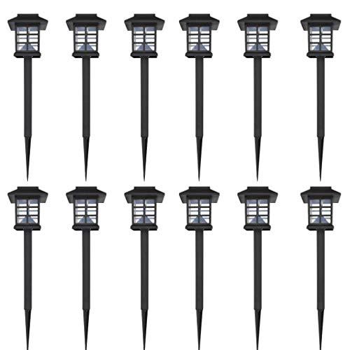 Solarleuchte LED-Licht Set für den Außenbereich 12 Stück mit Erdspieß 8,6 x 8,6 x 38 cm