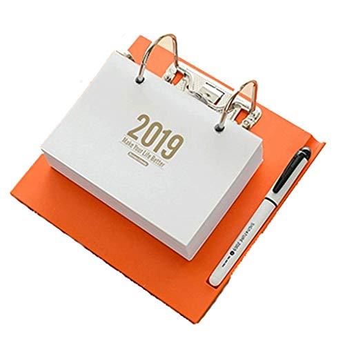 2019 Calendarios de Escritorio Creativos 365 días Planifique la decoración de Este Escritorio Calendarios de Escritorio Pequeños calendarios Frescos pequeños (Color : Orange, tamaño : 19.5 * 18.5cm)