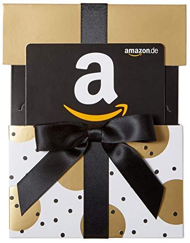 Amazon.de Geschenkgutschein in Geschenkschuber (Gold mit Punkten)