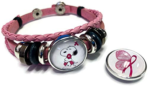 Butterfly & Snoopy Breast Cancer Awareness Snaps On Pink Leather Bracelet W/2 Snap Jewelry Charms
