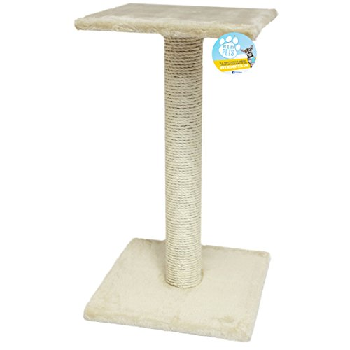 Me and My Large Beige Sisal Cat Scratching Post and Platform