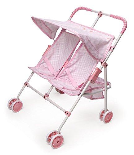 Badger Basket Folding Double Doll Umbrella Stroller - Pink Gingham (fits American Girl Dolls)