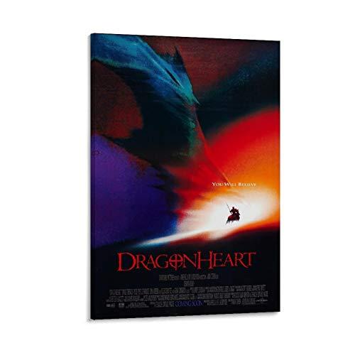 EWRW Dragonheart Poster auf Leinwand, Wandkunst, Deko, Vintage, klassische Filmposter, für Wohnzimmer, Badezimmer, Dekoration, 30 x 45 cm