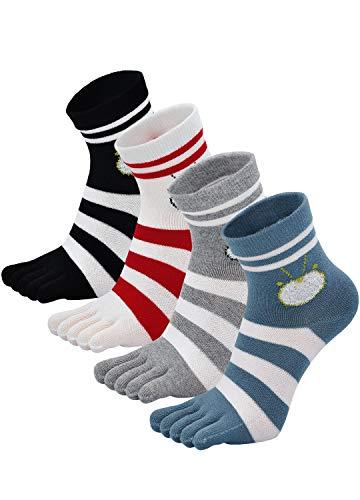 Zehensocken Damen Fünf Finger Socken aus Baumwolle, Damen Sneaker Socken mit Zehen für Sport Laufende Freizeit, atmungsaktive und bunte Socken, 4/5 Paare, Streifen - 4 Paare, EU 36-41