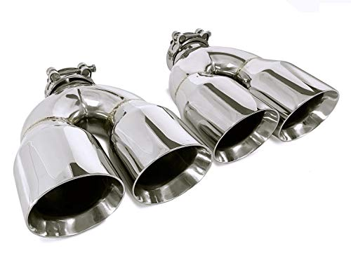 """PAIR STAINLESS STEEL UNIVERSAL DUAL EXHAUST TIPS 3.5"""""""