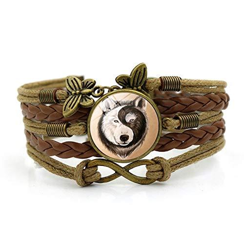 Ying Yang Wolf Foto Charm Armbänder Für Frauen Mode Glas Cabochon Schmetterling Infinity Schmuck Leder Armband Diy
