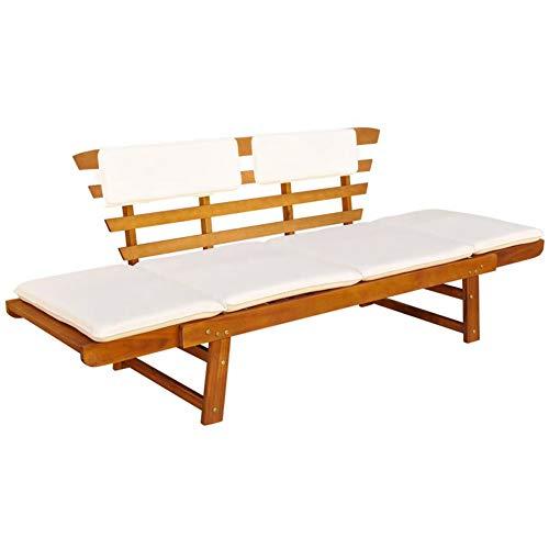 Lahomia - Silla de jardín para uso exterior de madera, banco de jardín con cojines 2 en 1, 190 cm de madera maciza de acacia 190 cm