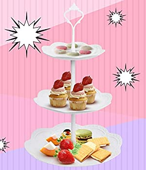 WYKOO 3 Tier Cupcake Stand Plastic Tiered Serving Stand Cake Tower Tray Display Stand for Party Wedding Home Birthday Tea Party White