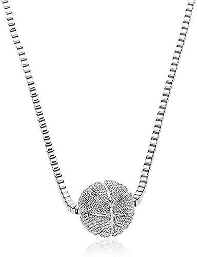 LBBYLFFF Collar Mujer Molde de béisbol Collar Collares Pendientes Collares con dijes de tamaño de Bola de 12 mm con Cadenas de Caja de Cobre de 45 cm para Hombres y Mujeres