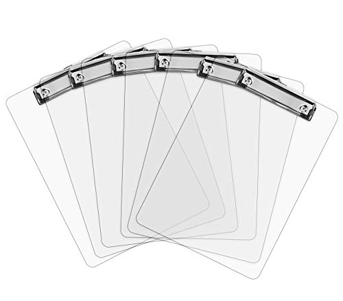Portapapeles de Plástico con Pinza | Tableros Rígidos Transparentes con Clip Metálico, Sujeta Papeles, Portablocks de Escritura en Acrílico, Sujeta hasta 100 Hojas A4, Tamaño | Pack de 6