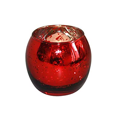 Microsky 12-Pack Bowl Votive Tealight Candle Holder Bulk - Speckled Red Mercury Candle Holders for Table Centerpieces, Wedding Decorations, Thanksgiving Decorations (red)