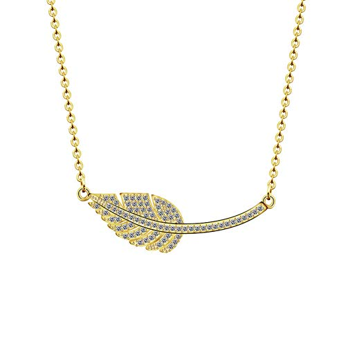 Halskette FyaWTM, Schmuck Choker Mode Zirkon Bananen Wegerich Blatt Halskette Gold Silber Schmuck Kristall Krautige Pflanze Kette Halsketten & Anhänger Für Frauen