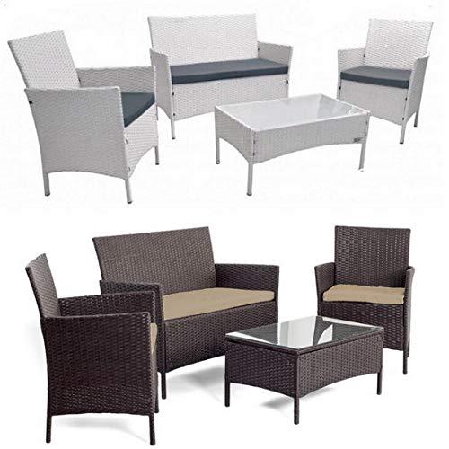 Baño Italia - Muebles para Exterior de ratán, Juego de jardín Blanco o marrón, sofá sillones y Mesa: Amazon.es: Jardín
